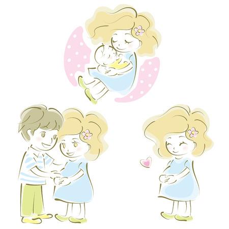 임신 한 여자, 한 쌍, 어머니와 아버지, 아기 일러스트