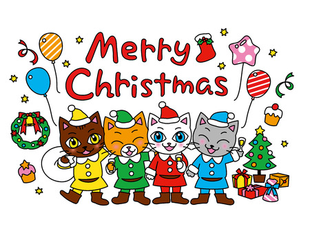 partying: Merry Christmas, christmas party, cats, vector file Illustration