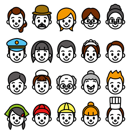 faces set, occupational category Illustration