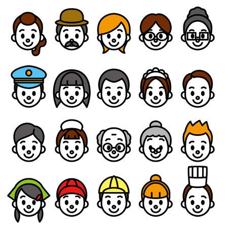 faces set, occupational category Illustration
