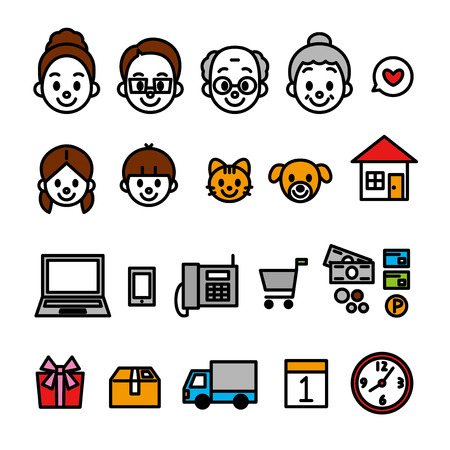 family online shopping icons