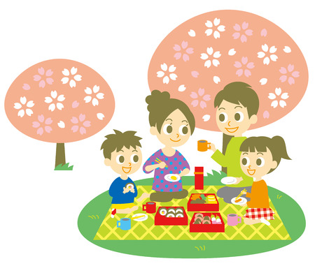 family eating: Ohanami, family,  cherry blossom party