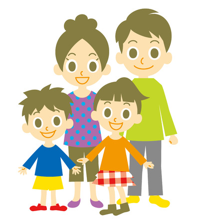 family with two children: Family Illustration