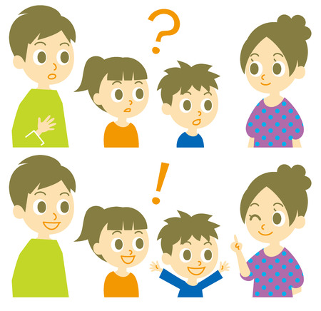 Family, question and answer, quiz, riddle Vector