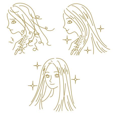 헤어 케어, 손상된 머리카락과 아름다운 머리, 여자