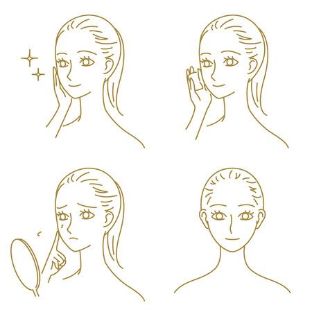 beaut� esthetique: soins de la peau, femme Illustration