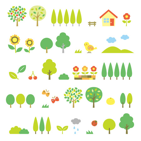 cherry wood: trees set Illustration