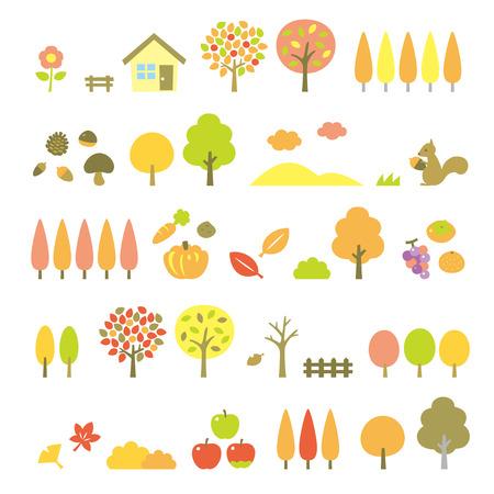 avenue: trees set, autumn