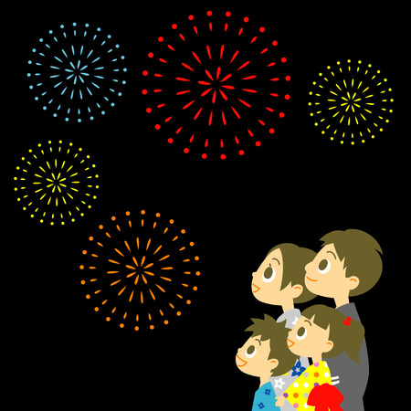 Fireworks display in Japan, Family in yukata, kimono for summer Vector