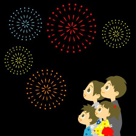 Fireworks display in Japan, Family in yukata, kimono for summer Vector