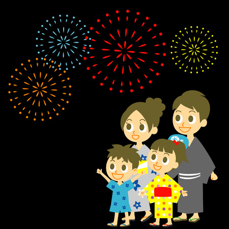 Fireworks display in Japan, Family in yukata, kimono for summer Stock Vector - 29453786