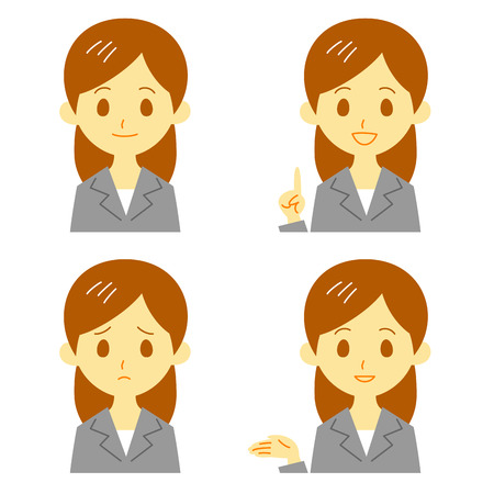 woman in suit, expressions