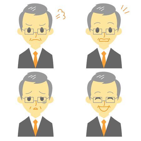 gray haired man in suit, expressions