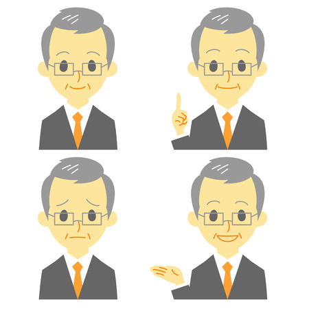 gray haired: gray haired man in suit, expressions