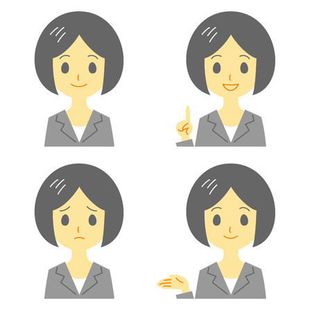 upset woman: young woman in suit, expressions Illustration