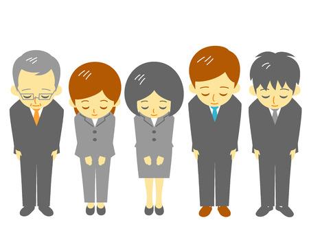 agradecimiento: los trabajadores de oficina, cortés inclinación de cabeza