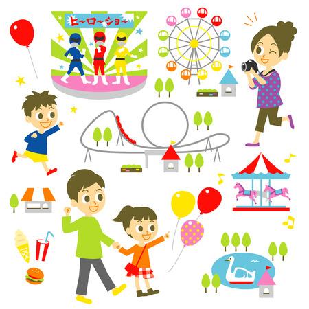 fun fair: amusement park, family Illustration