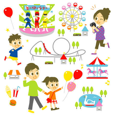 amusement park, family Illustration