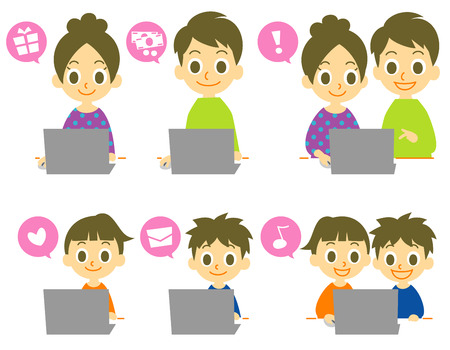surfing the net: people using computer vector Illustration