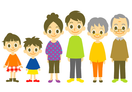 standing in line: Family  illustration