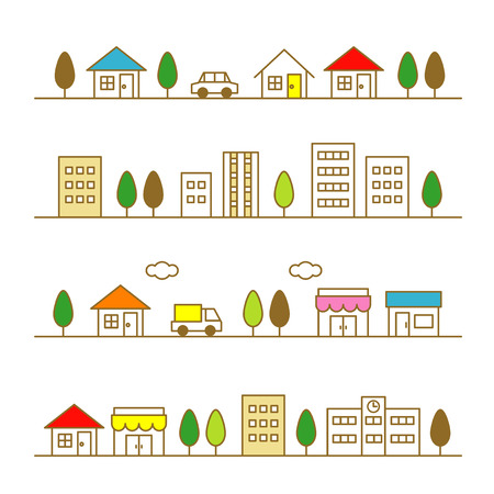 tree lined street: stores and houses on a street Illustration