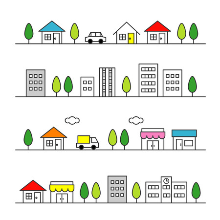 residential neighborhood: stores and houses on a street Illustration