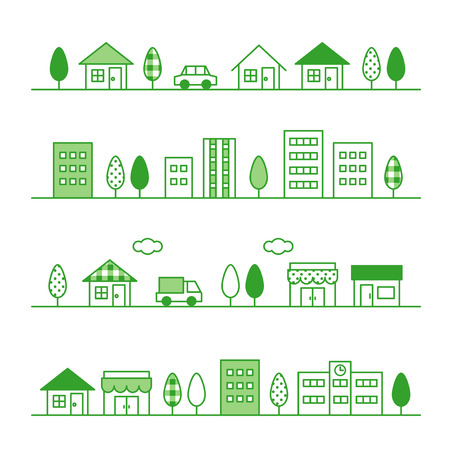 stores and houses on a street Stock Vector - 32960272