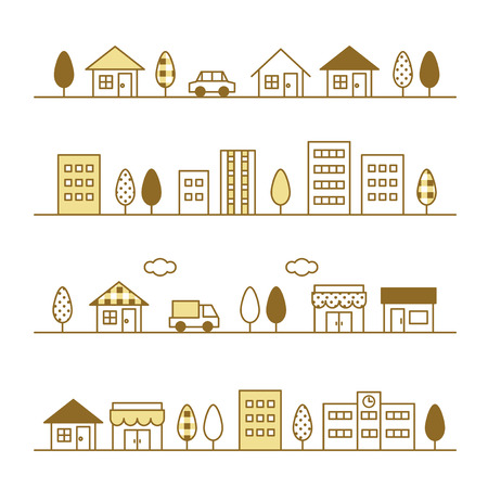 stores and houses on a street Illustration