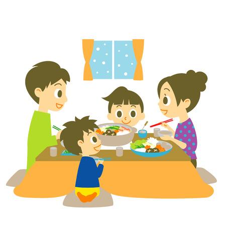 familia comiendo: Japonés plato de olla caliente, familia Vectores