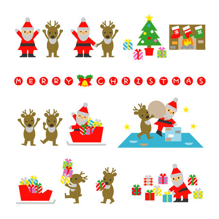 Santa Claus and Reindeer, prepare for Christmas Vector