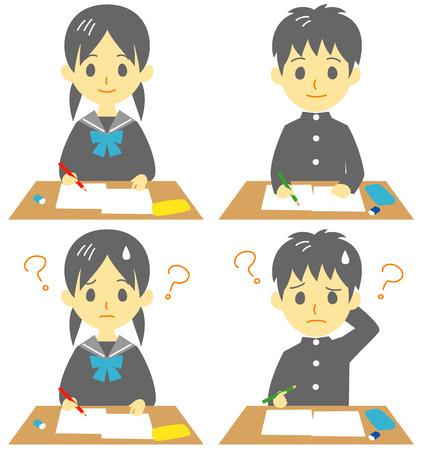クラスでは、学生を取る試験、困った顔、ベクター ファイル  イラスト・ベクター素材