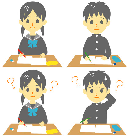 student in class, take an exam, troubled face, vector file