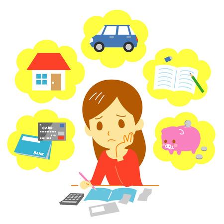 Managing familie financiën, de uitgaven Vector Illustratie