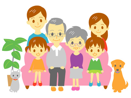 large family: Family, sofa, three generation family