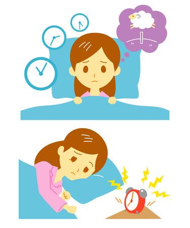 El insomnio, falta de sueño, mujer Vectores