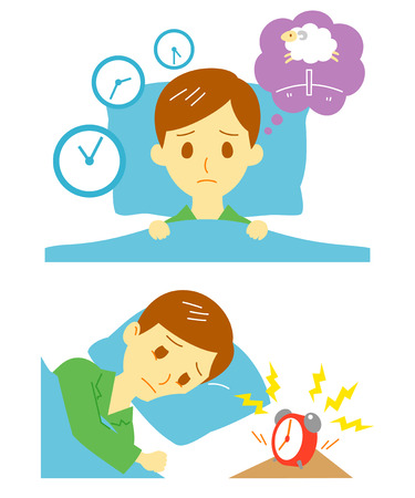 get tired: Insomnia, sleeplessness, man Illustration