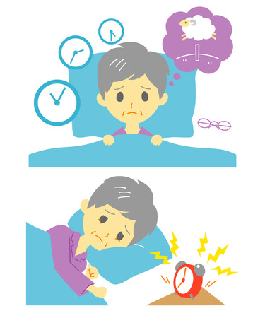get tired: Insomnia, sleeplessness, old woman Illustration