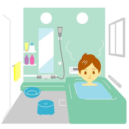 Taking a bath,  woman Vector