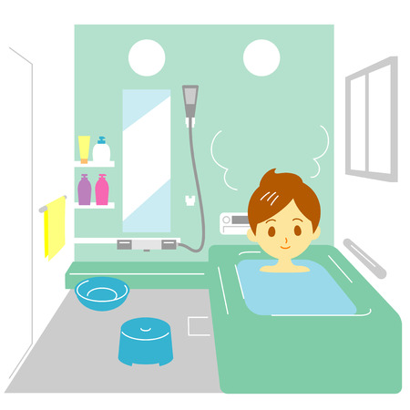 washbowl: Taking a bath,  woman Illustration