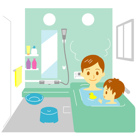 infant bathing: Taking a bath, father and son