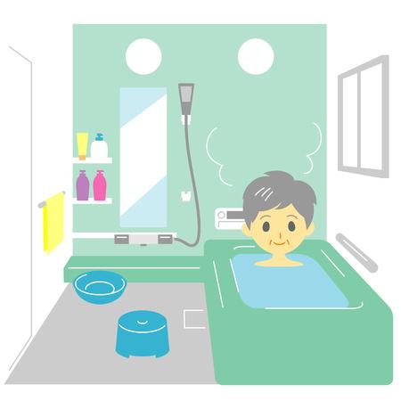 bathroom women: Taking a bath, old woman
