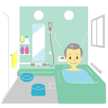목욕, 노인 일러스트