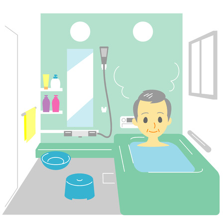taking: Taking a bath, old man