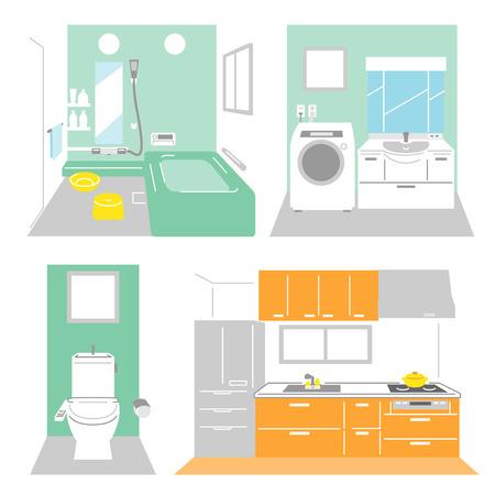 Badkamer, wasplaats, keuken