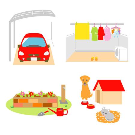 carport: Carport, balcony, garden, pet house