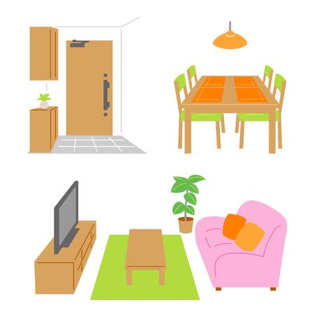 Living room, dining room, door
