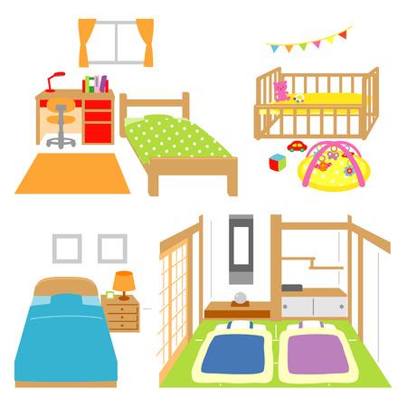 침실, 차일 방, 침대, 일본식 객실 일러스트