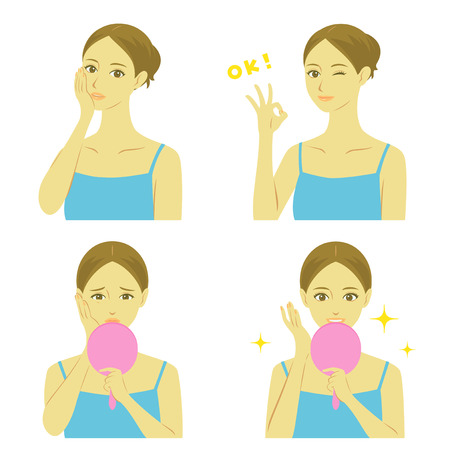 young girl underwear: Woman facial treatment Illustration
