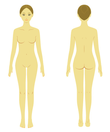 nude young: woman body model naked Illustration