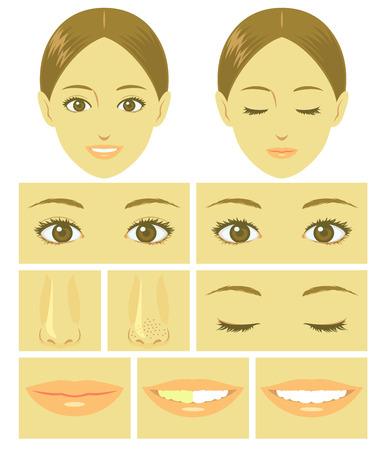 boca cerrada: Partes de la cara de la mujer Vectores